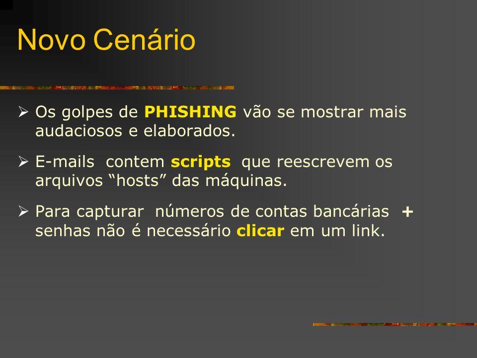 Novo Cenário Os golpes de PHISHING vão se mostrar mais audaciosos e elaborados. E-mails contem scripts que reescrevem os arquivos hosts das máquinas.