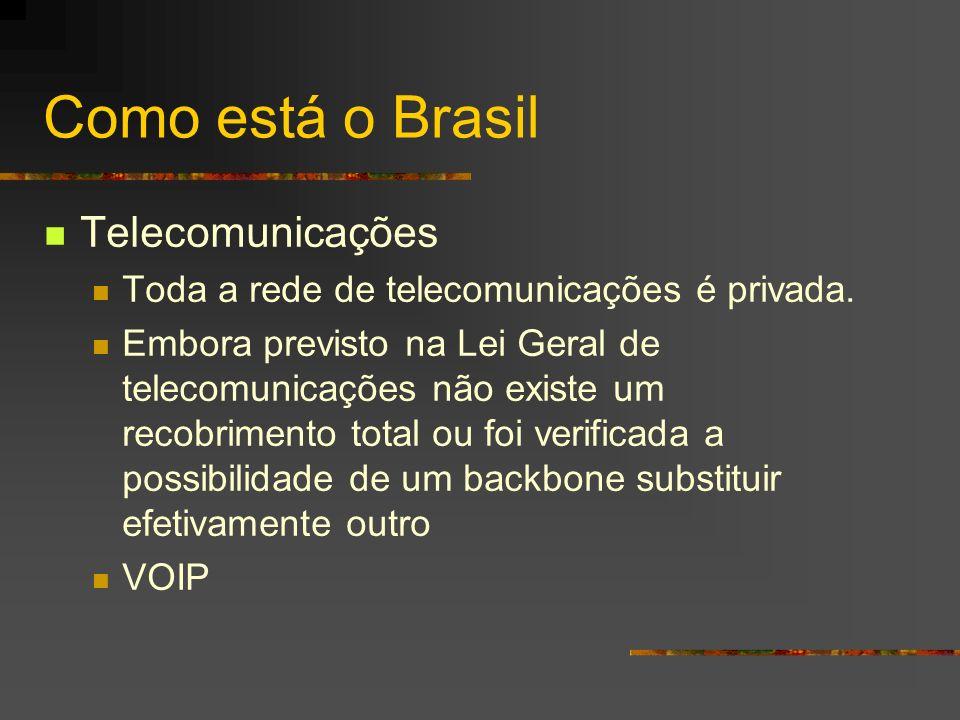 Como está o Brasil Telecomunicações Toda a rede de telecomunicações é privada. Embora previsto na Lei Geral de telecomunicações não existe um recobrim