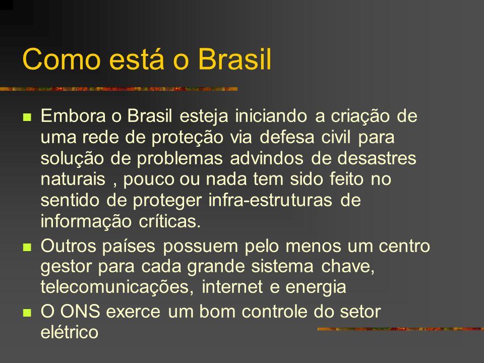 Como está o Brasil Embora o Brasil esteja iniciando a criação de uma rede de proteção via defesa civil para solução de problemas advindos de desastres