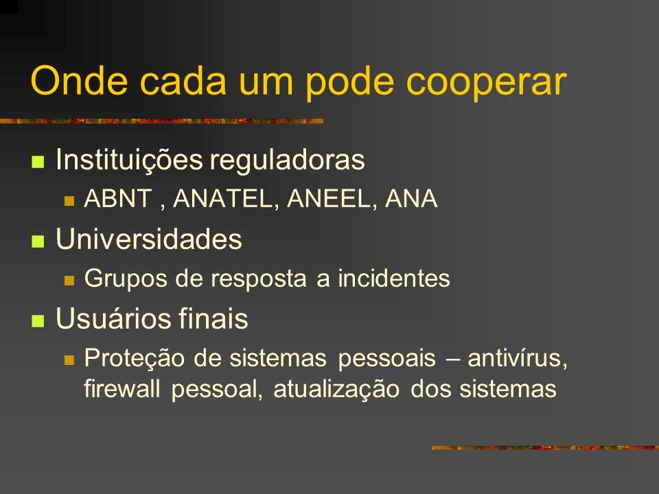 Onde cada um pode cooperar Instituições reguladoras ABNT, ANATEL, ANEEL, ANA Universidades Grupos de resposta a incidentes Usuários finais Proteção de