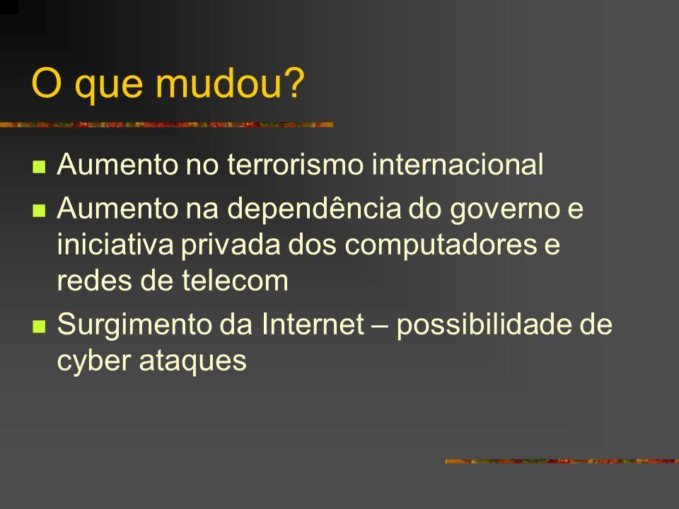 O que mudou? Aumento no terrorismo internacional Aumento na dependência do governo e iniciativa privada dos computadores e redes de telecom Surgimento