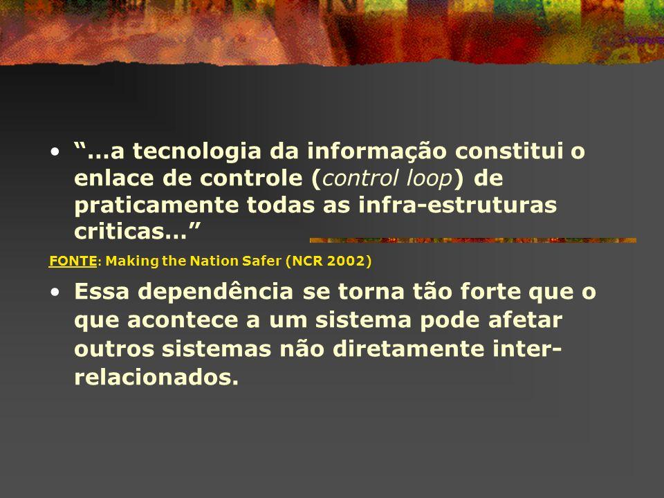 …a tecnologia da informação constitui o enlace de controle (control loop) de praticamente todas as infra-estruturas criticas… FONTE : Making the Natio