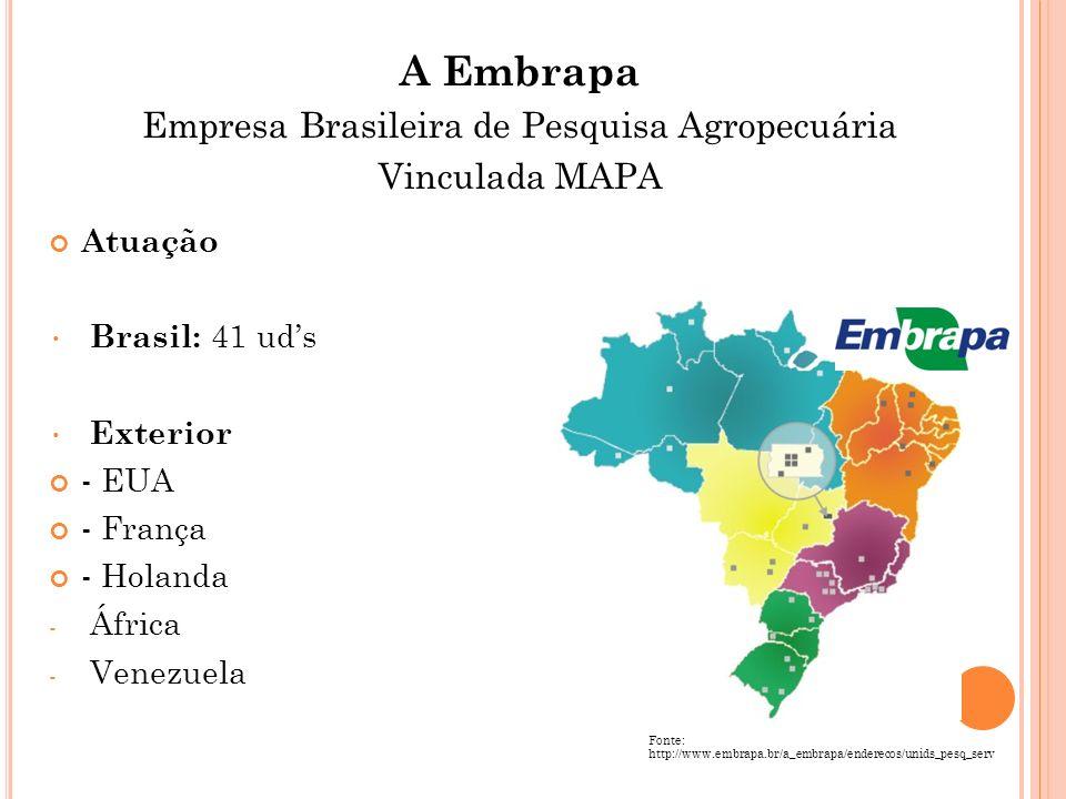 Atuação Brasil: 41 uds Exterior - EUA - França - Holanda - África - Venezuela Fonte: http://www.embrapa.br/a_embrapa/enderecos/unids_pesq_serv A Embra