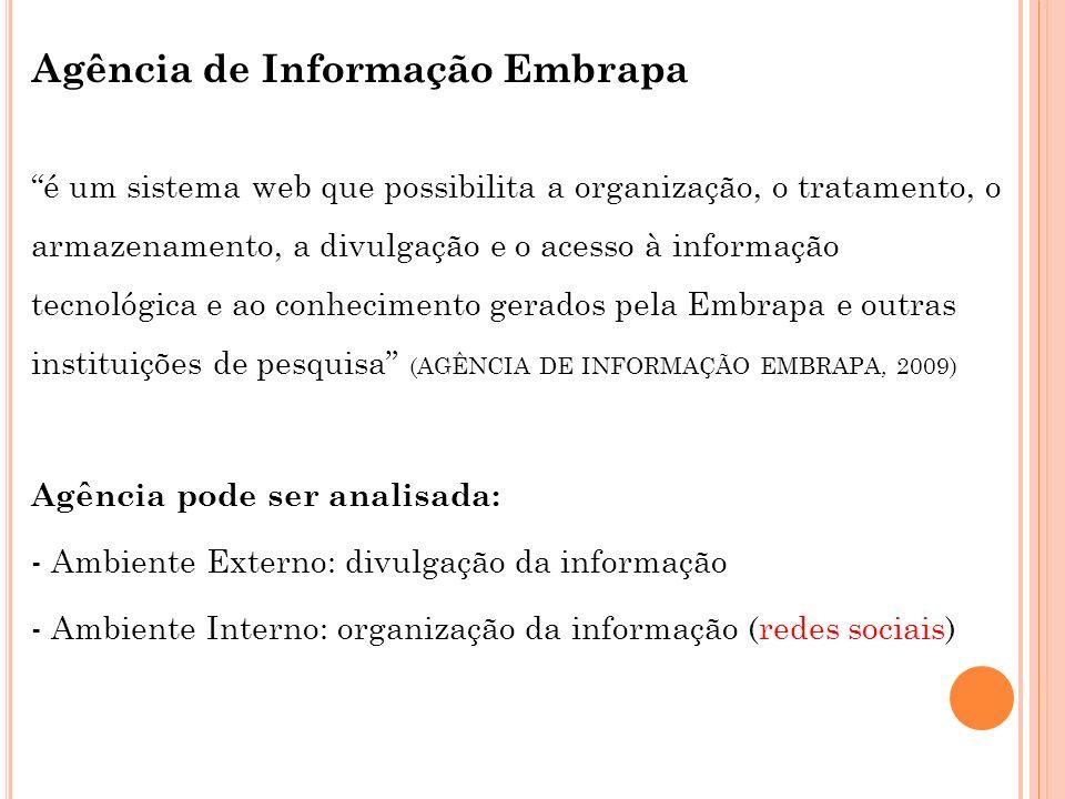 Agência de Informação Embrapa é um sistema web que possibilita a organização, o tratamento, o armazenamento, a divulgação e o acesso à informação tecn