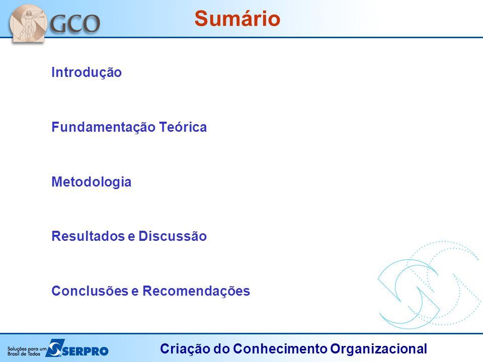 Criação do Conhecimento Organizacional Sumário Introdução Fundamentação Teórica Metodologia Resultados e Discussão Conclusões e Recomendações
