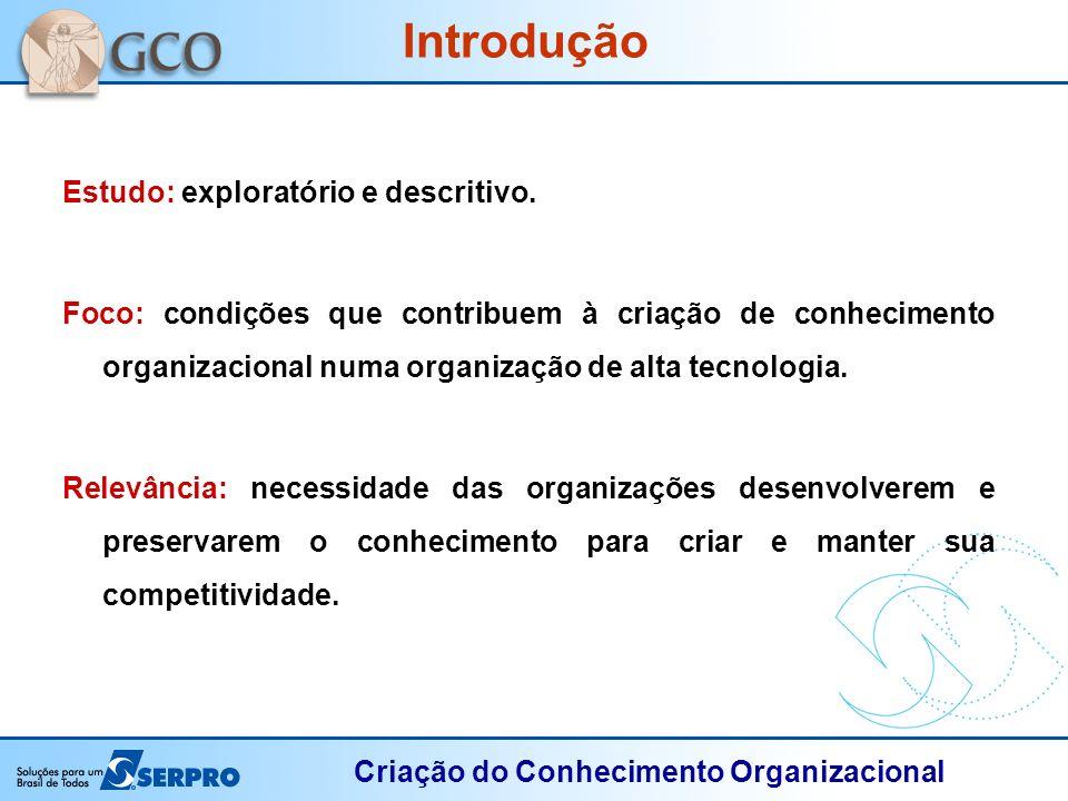 Criação do Conhecimento Organizacional Estudo: exploratório e descritivo. Foco: condições que contribuem à criação de conhecimento organizacional numa