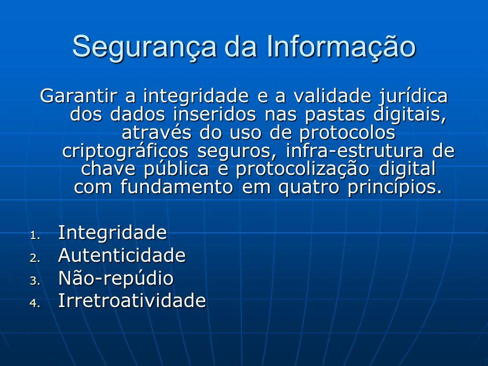 Segurança da Informação Garantir a integridade e a validade jurídica dos dados inseridos nas pastas digitais, através do uso de protocolos criptográfi