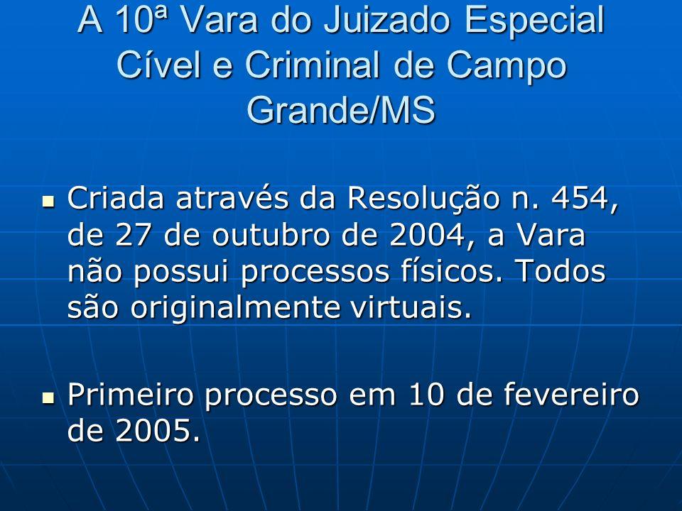 A 10ª Vara do Juizado Especial Cível e Criminal de Campo Grande/MS Criada através da Resolução n. 454, de 27 de outubro de 2004, a Vara não possui pro