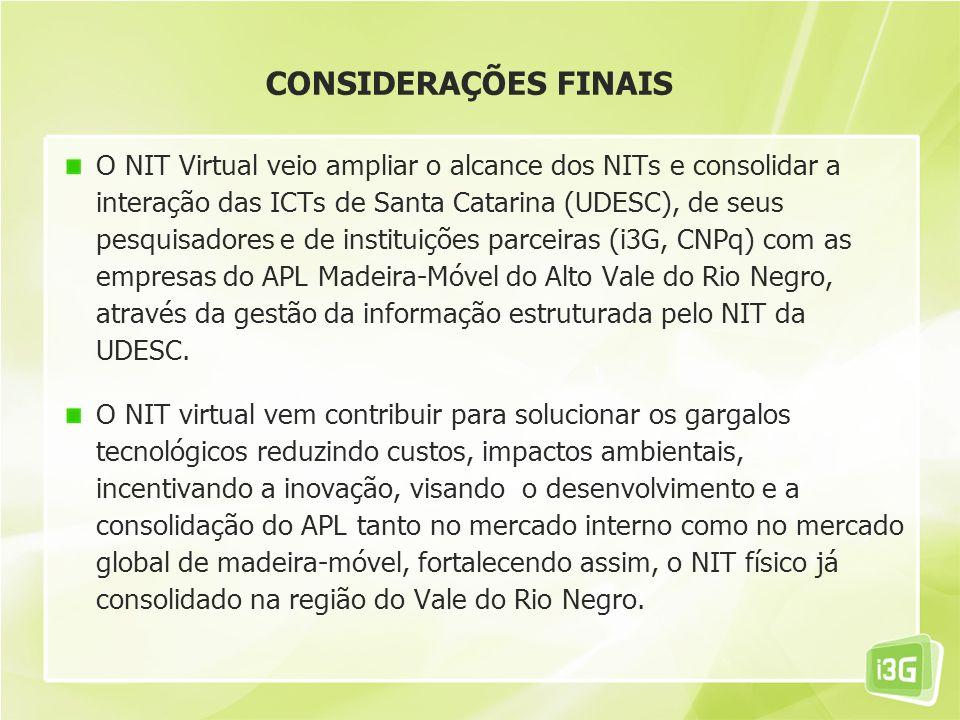 CONSIDERAÇÕES FINAIS O NIT Virtual veio ampliar o alcance dos NITs e consolidar a interação das ICTs de Santa Catarina (UDESC), de seus pesquisadores