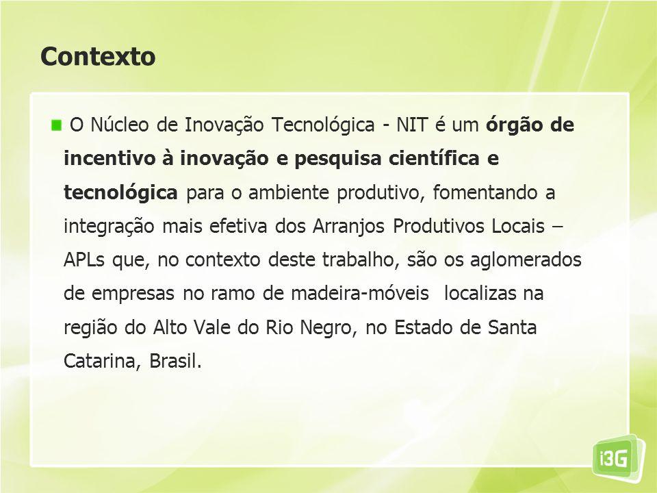 Contexto O Núcleo de Inovação Tecnológica - NIT é um órgão de incentivo à inovação e pesquisa científica e tecnológica para o ambiente produtivo, fome