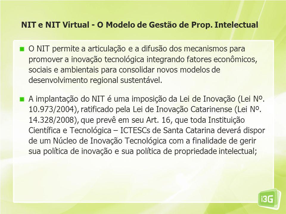 NIT e NIT Virtual - O Modelo de Gestão de Prop. Intelectual O NIT permite a articulação e a difusão dos mecanismos para promover a inovação tecnológic