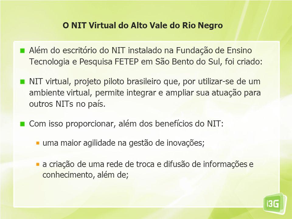 Além do escritório do NIT instalado na Fundação de Ensino Tecnologia e Pesquisa FETEP em São Bento do Sul, foi criado: NIT virtual, projeto piloto bra