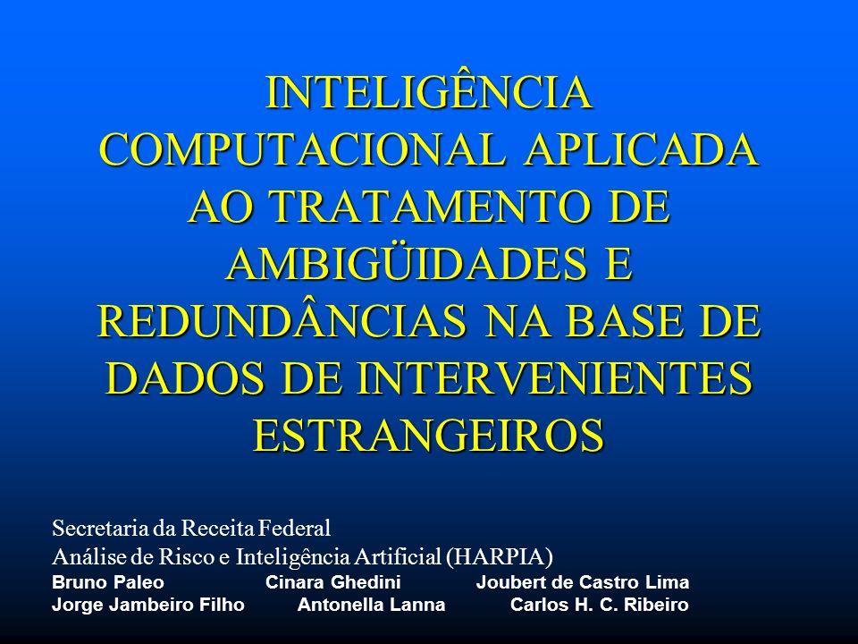 INTELIGÊNCIA COMPUTACIONAL APLICADA AO TRATAMENTO DE AMBIGÜIDADES E REDUNDÂNCIAS NA BASE DE DADOS DE INTERVENIENTES ESTRANGEIROS Secretaria da Receita