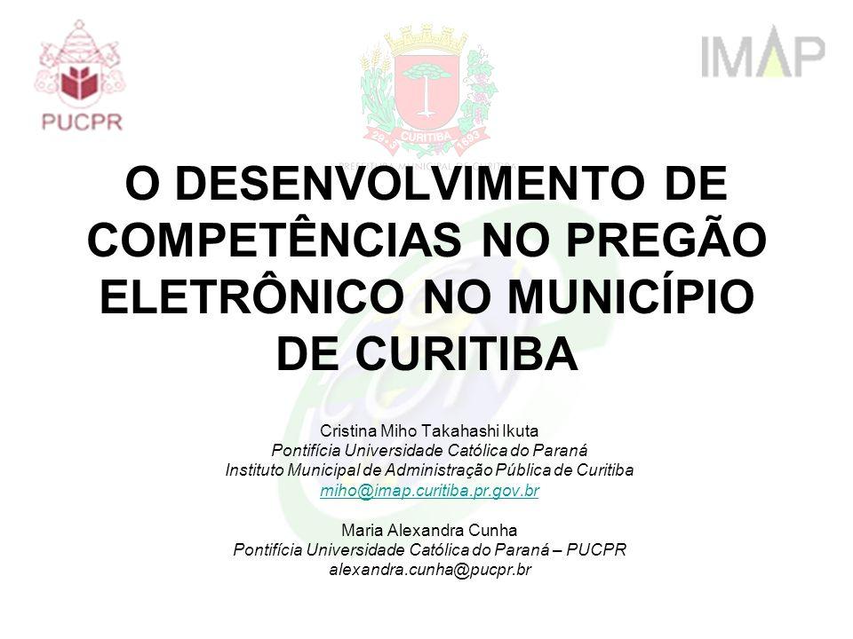 Estrutura da apresentação Conceitos e objetivos; O desenvolvimento de competências no pregão eletrônico; A experiência de Curitiba.