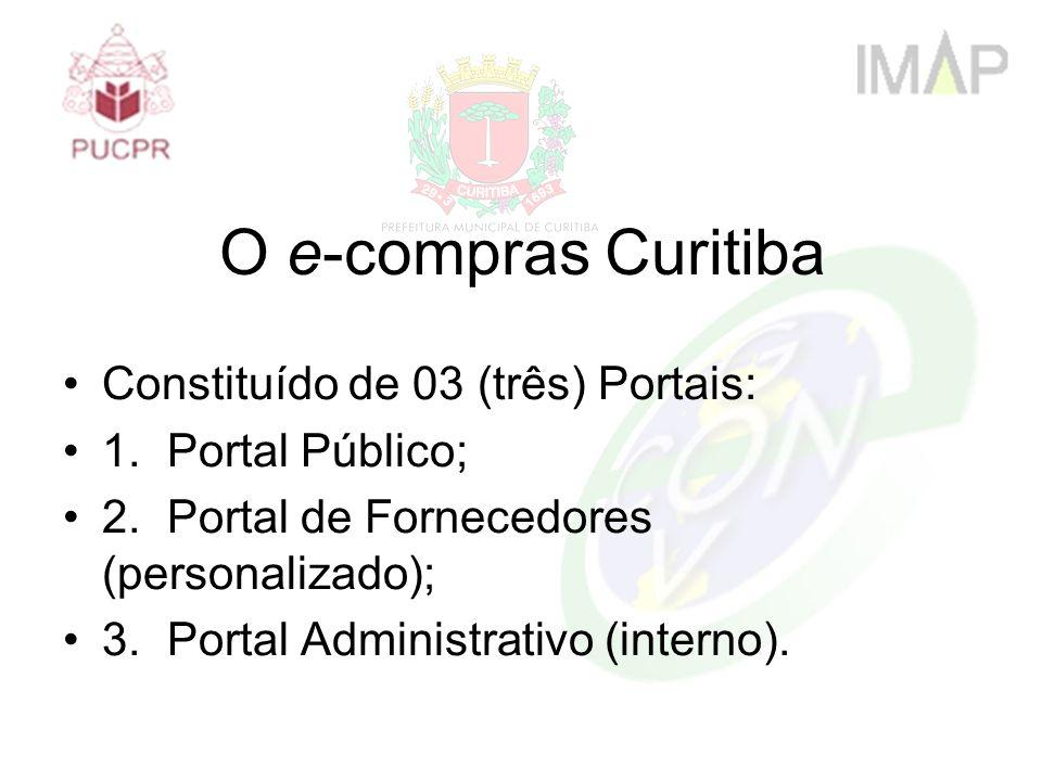 Constituído de 03 (três) Portais: 1.Portal Público; 2.Portal de Fornecedores (personalizado); 3.Portal Administrativo (interno). O e-compras Curitiba