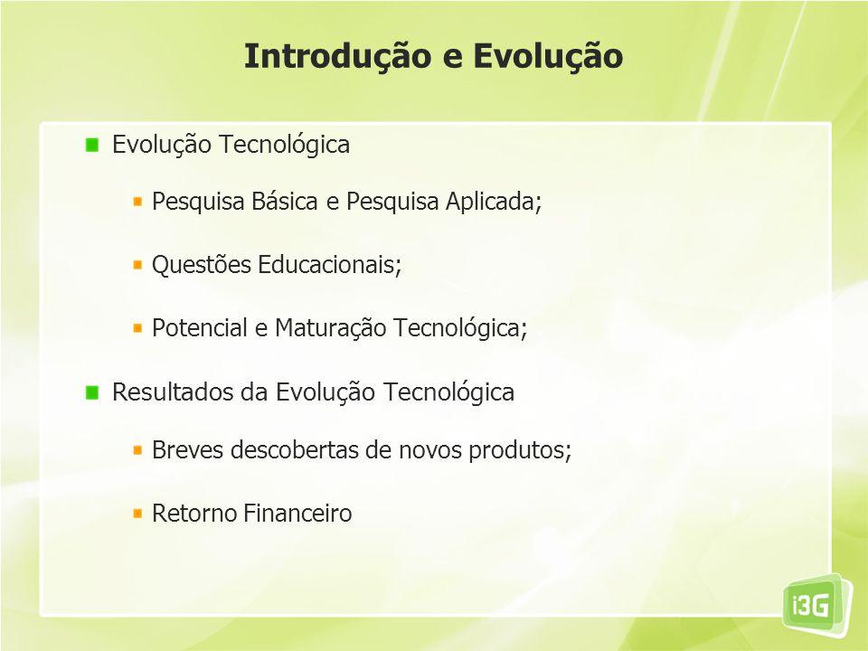 Evolução Tecnológica Pesquisa Básica e Pesquisa Aplicada; Questões Educacionais; Potencial e Maturação Tecnológica; Resultados da Evolução Tecnológica