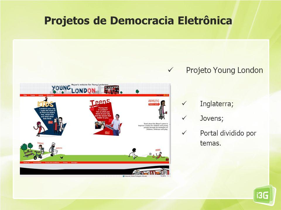 Projeto Young London Inglaterra; Jovens; Portal dividido por temas. Projetos de Democracia Eletrônica