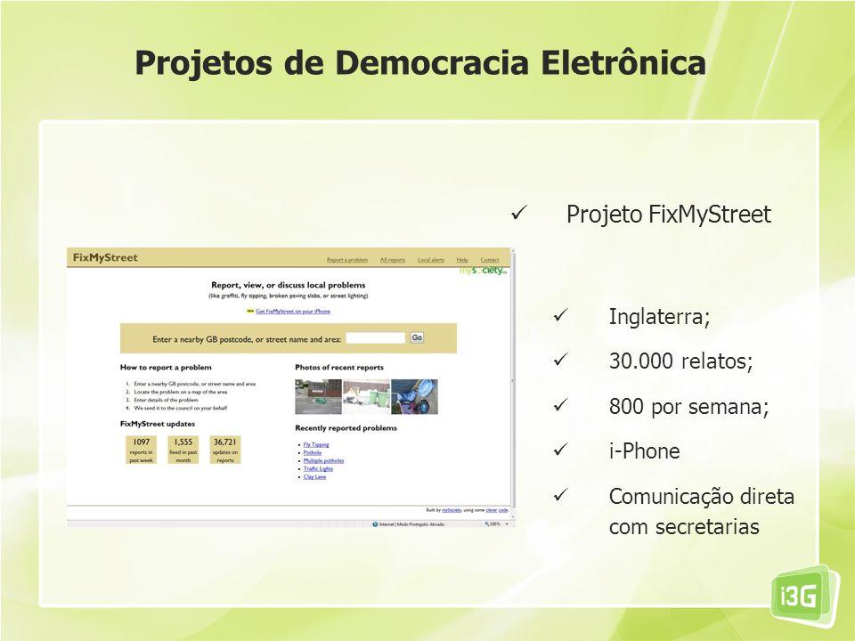 Projeto FixMyStreet Inglaterra; 30.000 relatos; 800 por semana; i-Phone Comunicação direta com secretarias Projetos de Democracia Eletrônica
