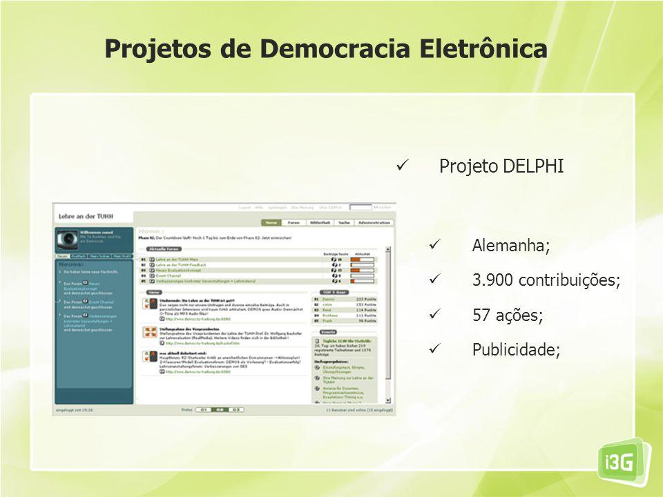 Projeto DELPHI Alemanha; 3.900 contribuições; 57 ações; Publicidade; Projetos de Democracia Eletrônica