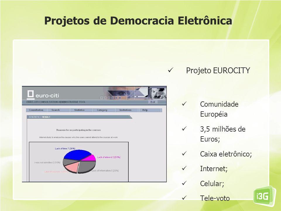 Projeto EUROCITY Comunidade Européia 3,5 milhões de Euros; Caixa eletrônico; Internet; Celular; Tele-voto Projetos de Democracia Eletrônica