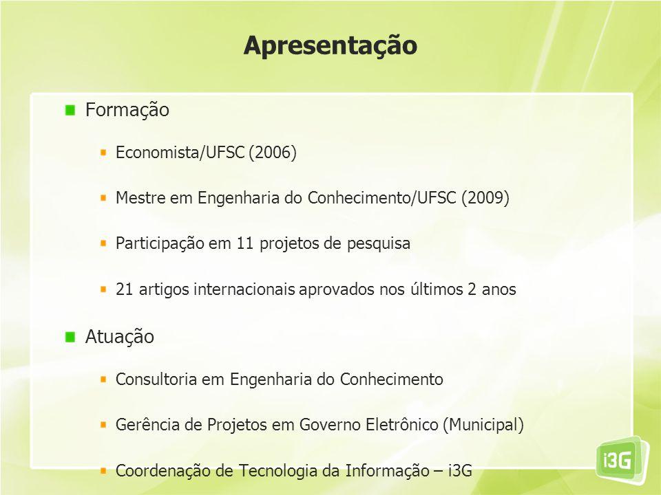 Apresentação Formação Economista/UFSC (2006) Mestre em Engenharia do Conhecimento/UFSC (2009) Participação em 11 projetos de pesquisa 21 artigos inter