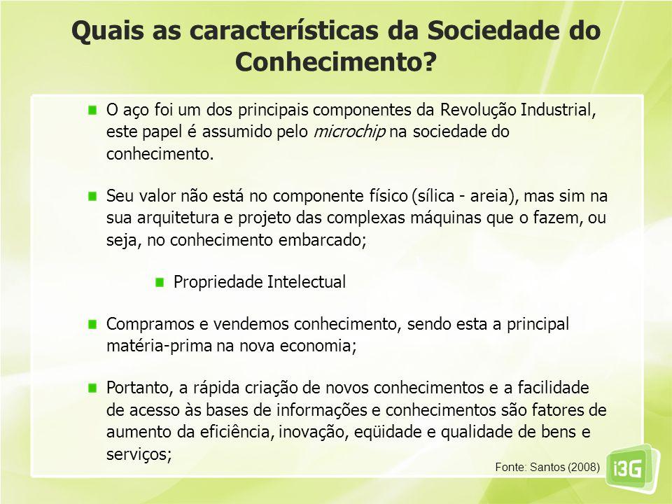 Quais as características da Sociedade do Conhecimento? O aço foi um dos principais componentes da Revolução Industrial, este papel é assumido pelo mic