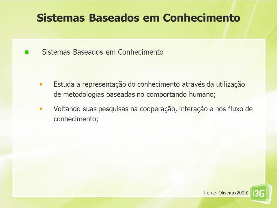 Sistemas Baseados em Conhecimento Estuda a representação do conhecimento através da utilização de metodologias baseadas no comportando humano; Voltand