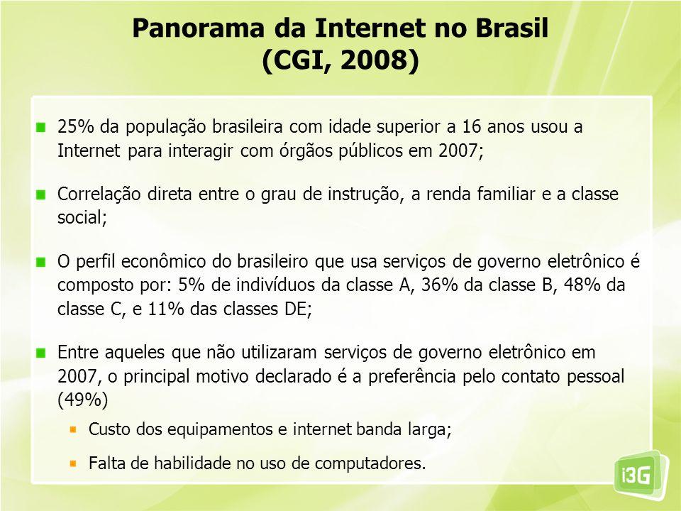 25% da população brasileira com idade superior a 16 anos usou a Internet para interagir com órgãos públicos em 2007; Correlação direta entre o grau de