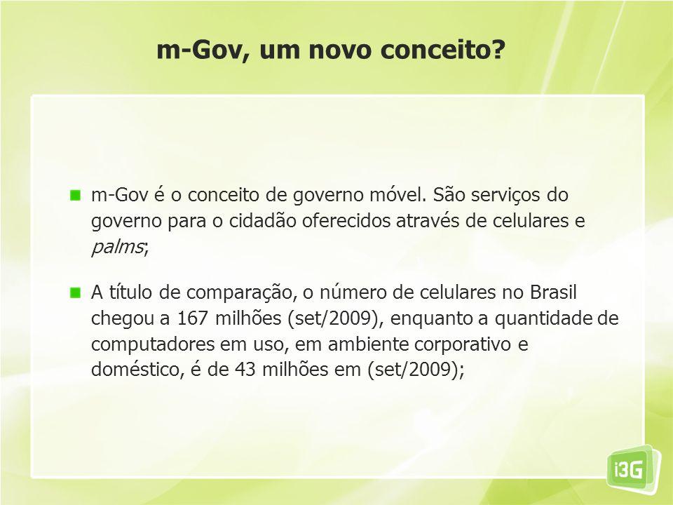 m-Gov é o conceito de governo móvel. São serviços do governo para o cidadão oferecidos através de celulares e palms; A título de comparação, o número