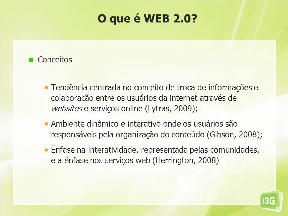 O que é WEB 2.0? Conceitos Tendência centrada no conceito de troca de informações e colaboração entre os usuários da internet através de websites e se