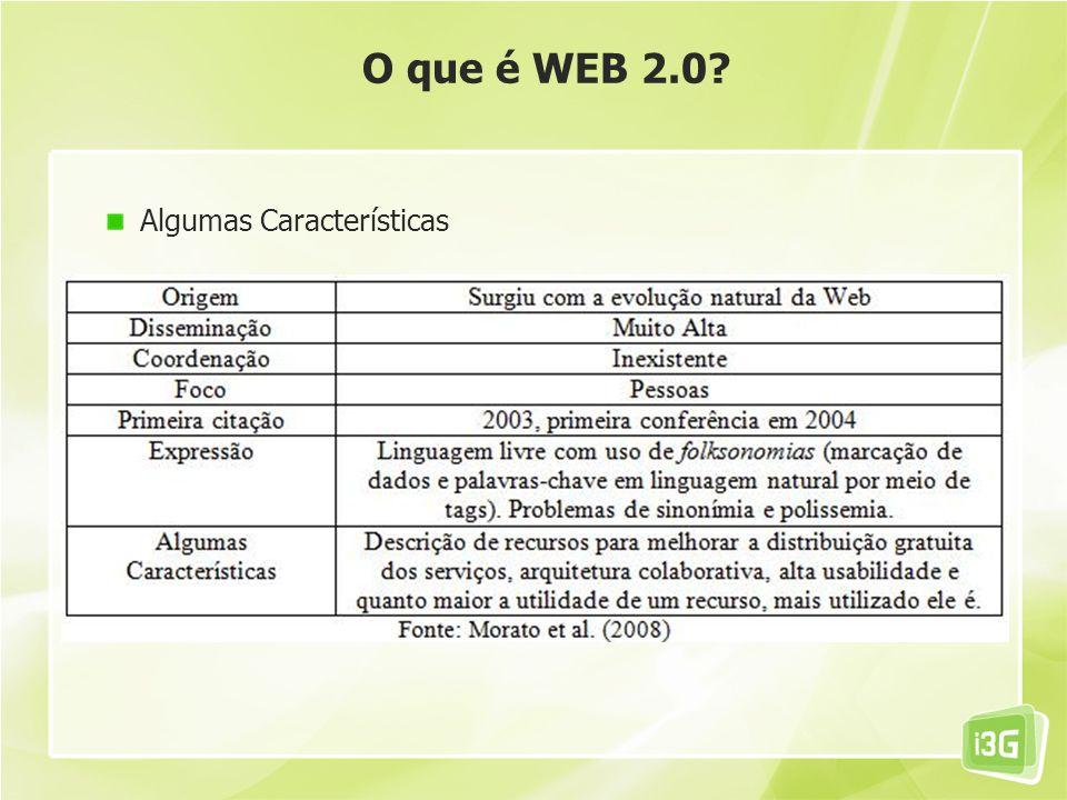 O que é WEB 2.0? Algumas Características