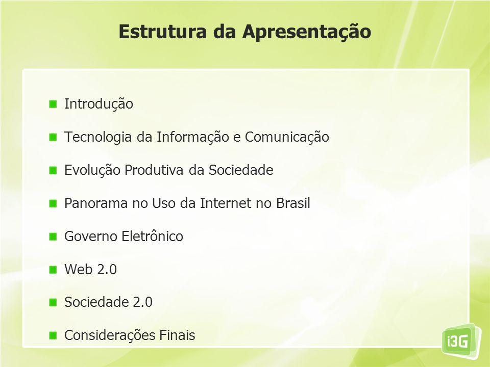 Estrutura da Apresentação Introdução Tecnologia da Informação e Comunicação Evolução Produtiva da Sociedade Panorama no Uso da Internet no Brasil Gove