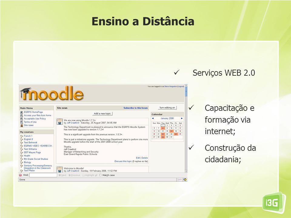 Serviços WEB 2.0 Capacitação e formação via internet; Construção da cidadania; Ensino a Distância