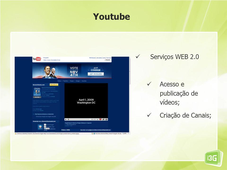 Serviços WEB 2.0 Acesso e publicação de vídeos; Criação de Canais; Youtube