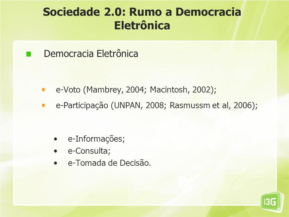 Sociedade 2.0: Rumo a Democracia Eletrônica Democracia Eletrônica e-Voto (Mambrey, 2004; Macintosh, 2002); e-Participação (UNPAN, 2008; Rasmussm et al