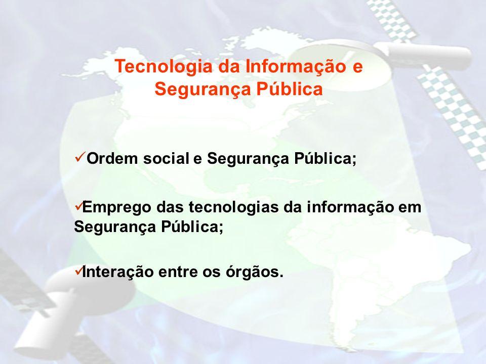 Tecnologia da Informação e Segurança Pública Ordem social e Segurança Pública; Emprego das tecnologias da informação em Segurança Pública; Interação e