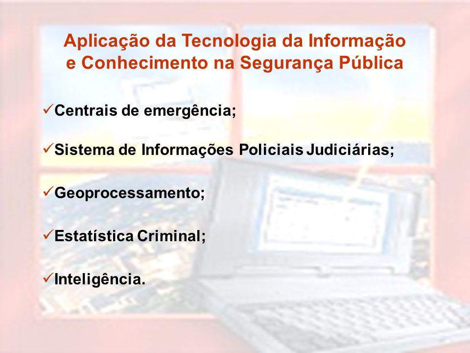 Aplicação da Tecnologia da Informação e Conhecimento na Segurança Pública Centrais de emergência; Sistema de Informações Policiais Judiciárias; Geopro