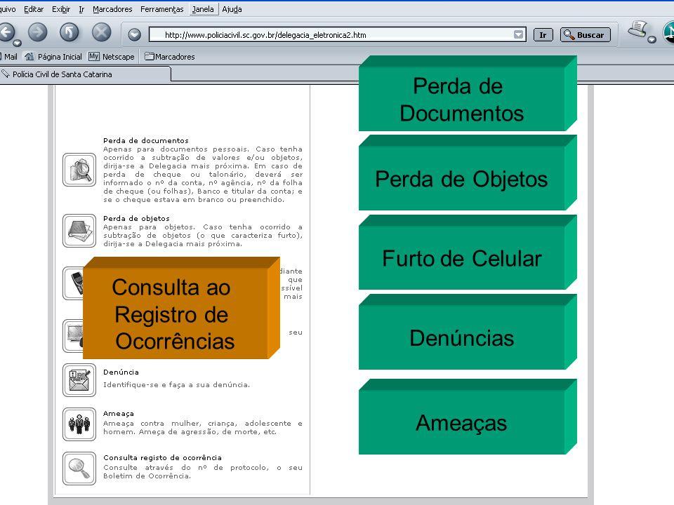 Perda de Documentos Perda de Objetos Furto de Celular Denúncias Ameaças Consulta ao Registro de Ocorrências