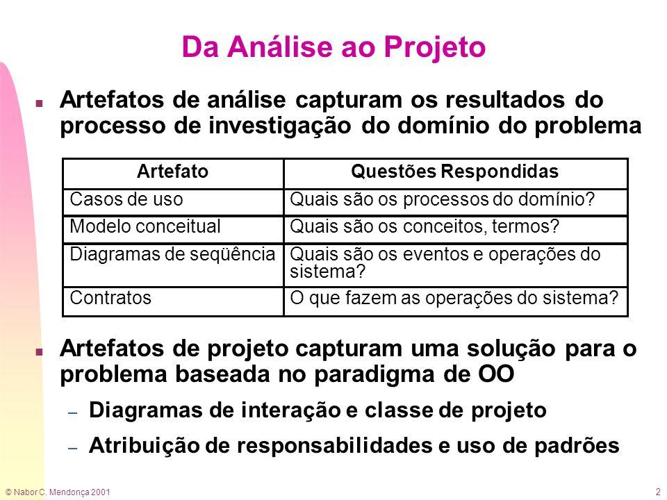 © Nabor C. Mendonça 2001 2 n Artefatos de análise capturam os resultados do processo de investigação do domínio do problema n Artefatos de projeto cap