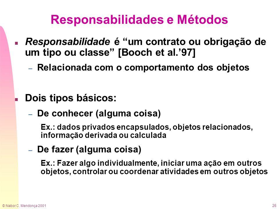 © Nabor C. Mendonça 2001 26 Responsabilidades e Métodos n Responsabilidade é um contrato ou obrigação de um tipo ou classe [Booch et al.97] – Relacion