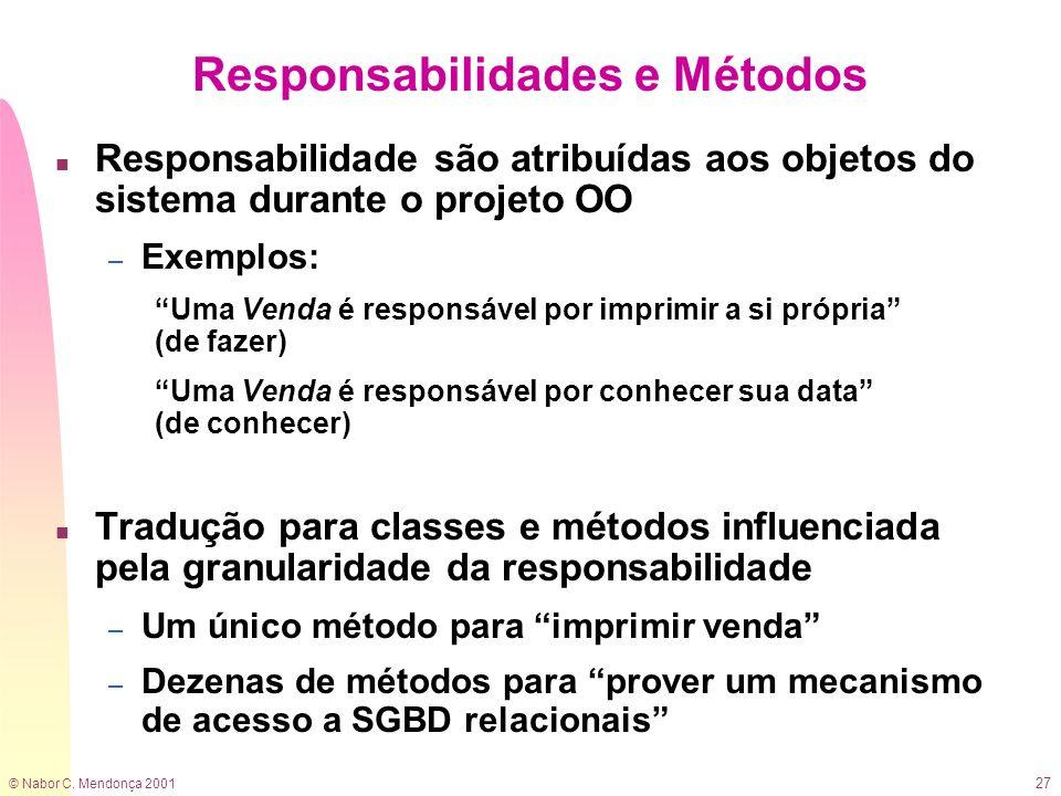© Nabor C. Mendonça 2001 27 Responsabilidades e Métodos n Responsabilidade são atribuídas aos objetos do sistema durante o projeto OO – Exemplos: Uma