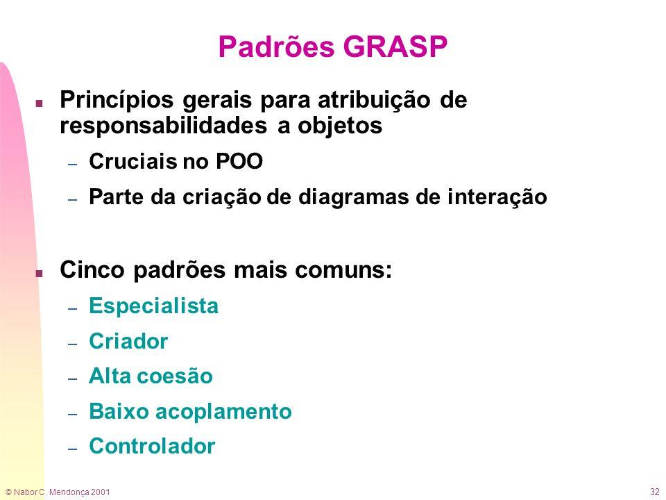 © Nabor C. Mendonça 2001 32 Padrões GRASP n Princípios gerais para atribuição de responsabilidades a objetos – Cruciais no POO – Parte da criação de d