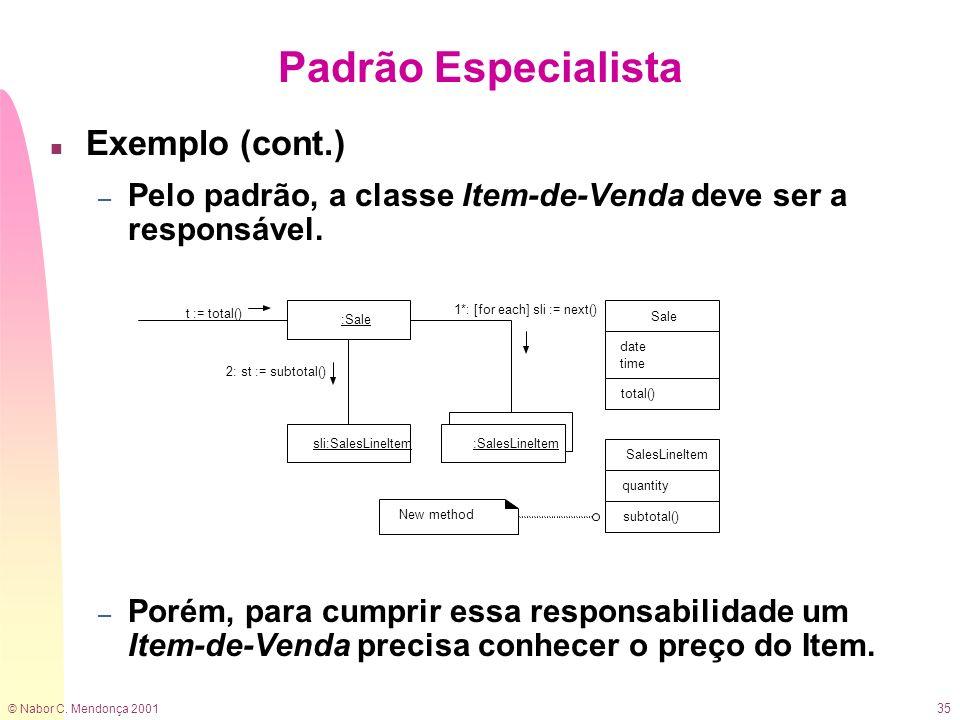 © Nabor C. Mendonça 2001 35 n Exemplo (cont.) – Pelo padrão, a classe Item-de-Venda deve ser a responsável. – Porém, para cumprir essa responsabilidad