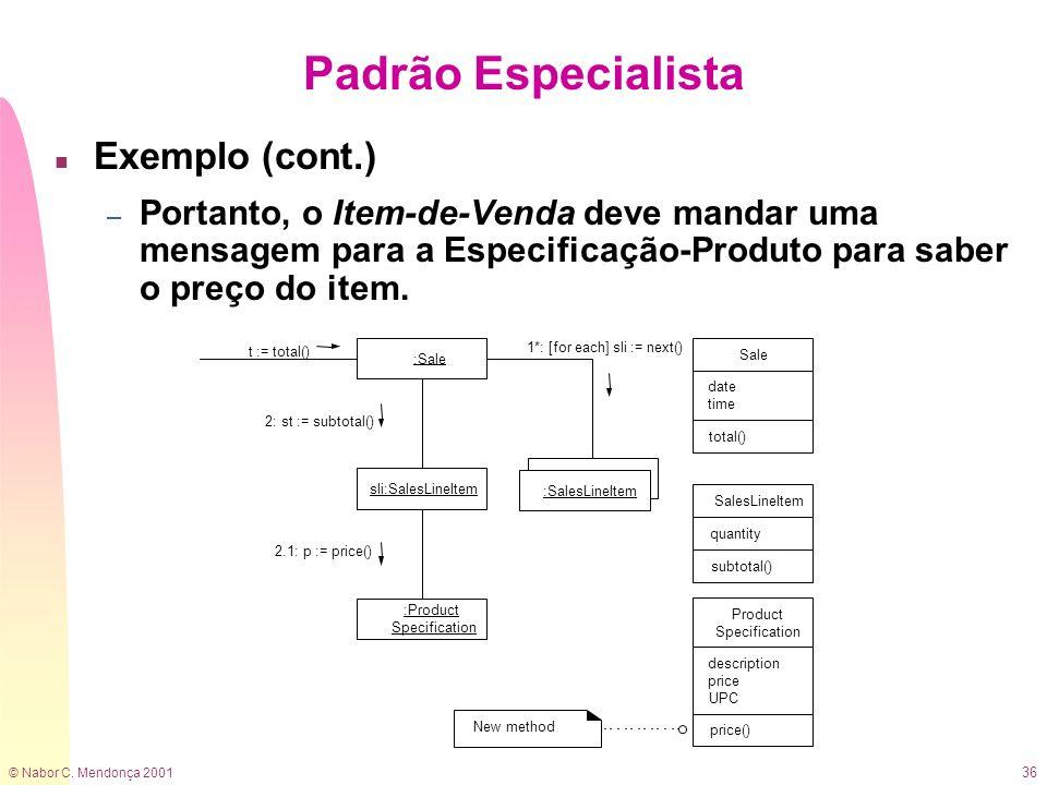 © Nabor C. Mendonça 2001 36 n Exemplo (cont.) – Portanto, o Item-de-Venda deve mandar uma mensagem para a Especificação-Produto para saber o preço do