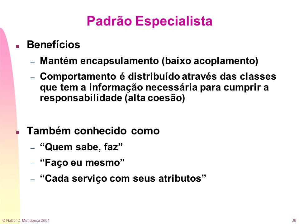 © Nabor C. Mendonça 2001 38 n Benefícios – Mantém encapsulamento (baixo acoplamento) – Comportamento é distribuído através das classes que tem a infor