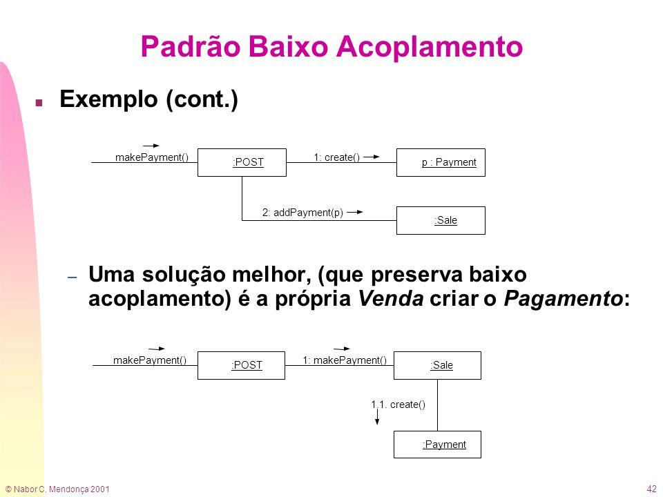 © Nabor C. Mendonça 2001 42 n Exemplo (cont.) – Uma solução melhor, (que preserva baixo acoplamento) é a própria Venda criar o Pagamento: Padrão Baixo