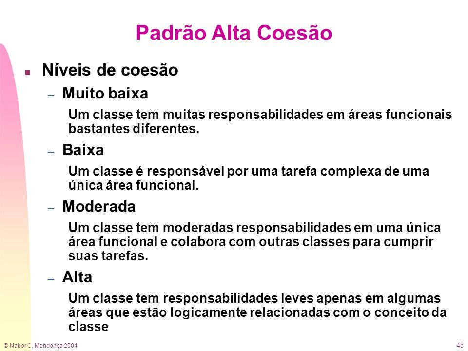 © Nabor C. Mendonça 2001 45 Padrão Alta Coesão n Níveis de coesão – Muito baixa Um classe tem muitas responsabilidades em áreas funcionais bastantes d