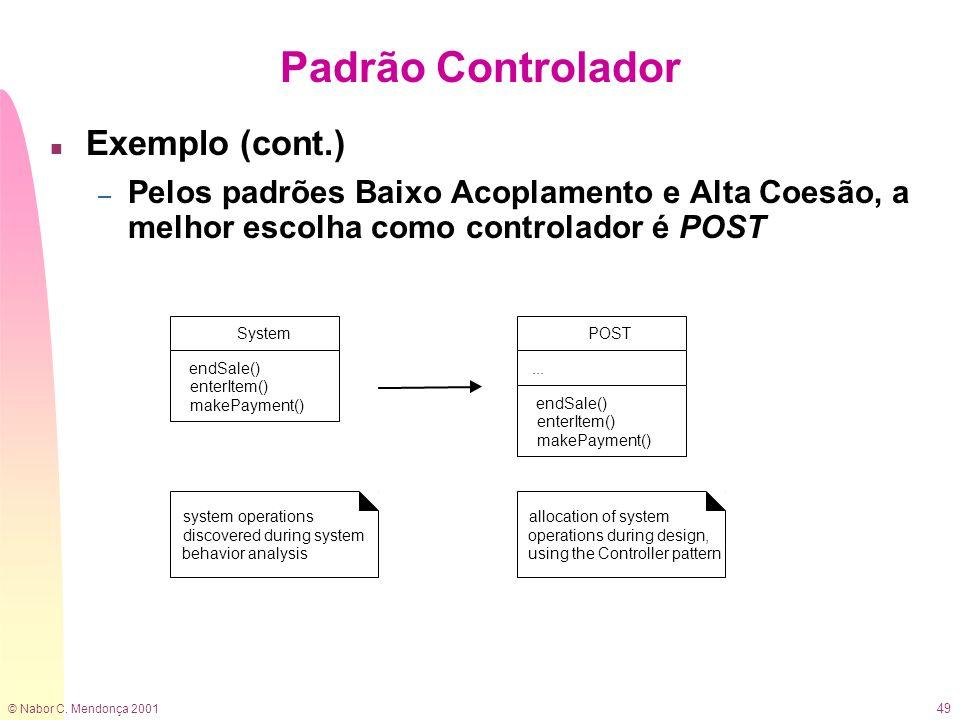 © Nabor C. Mendonça 2001 49 Padrão Controlador n Exemplo (cont.) – Pelos padrões Baixo Acoplamento e Alta Coesão, a melhor escolha como controlador é