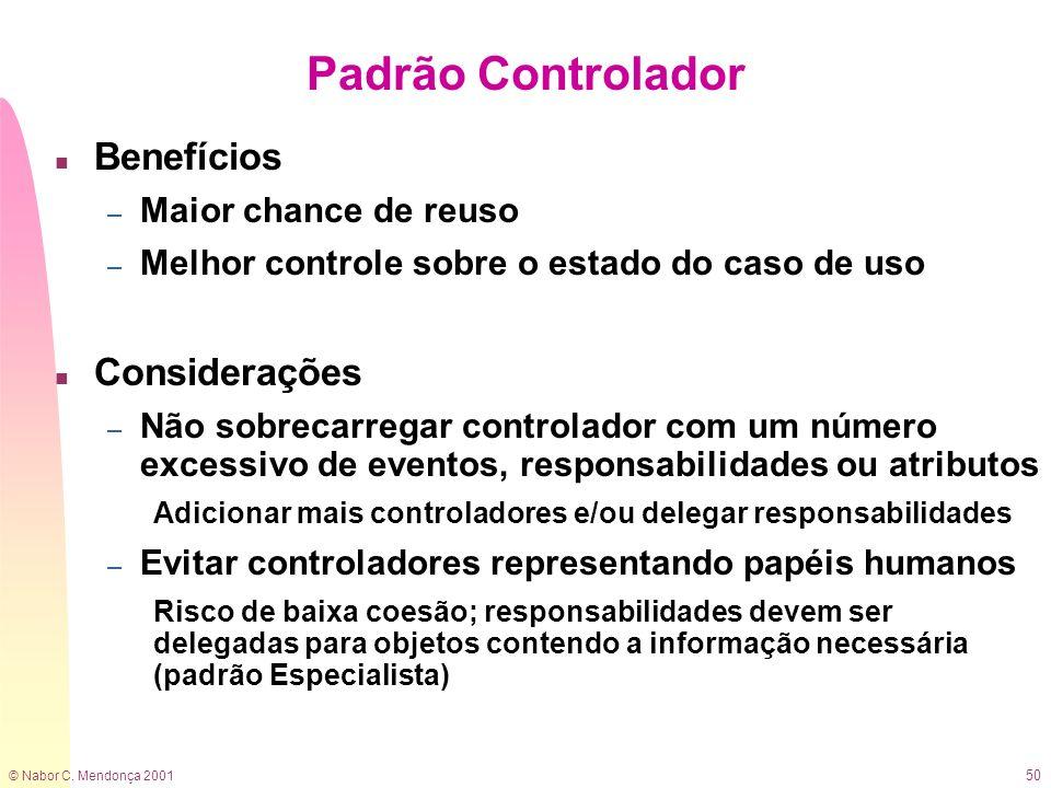© Nabor C. Mendonça 2001 50 Padrão Controlador n Benefícios – Maior chance de reuso – Melhor controle sobre o estado do caso de uso n Considerações –