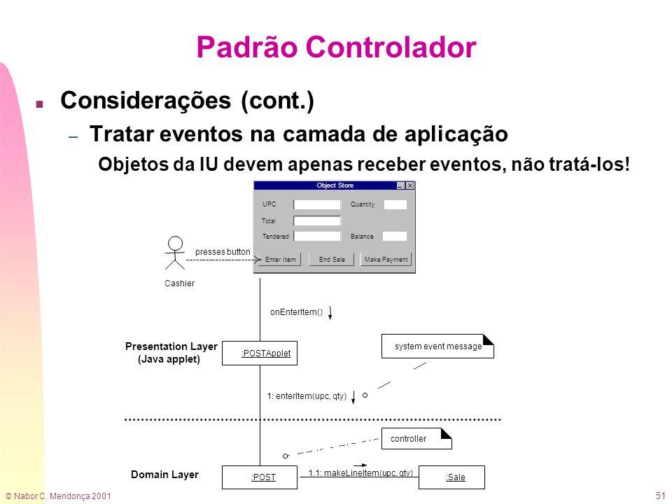 © Nabor C. Mendonça 2001 51 Padrão Controlador n Considerações (cont.) – Tratar eventos na camada de aplicação Objetos da IU devem apenas receber even